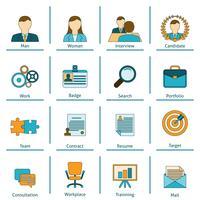 Conjunto de ícones plana de recursos humanos