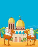 Povo árabe no deserto da mesquita vetor