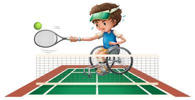 Menino, em, cadeira rodas, jogando tênis vetor