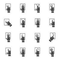 Mão, tocando, tela, ícones