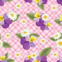 Padrão sem emenda floral. Pansies com chamomiles no guingão cor-de-rosa, fundo checkered. Ilustração vetorial vetor