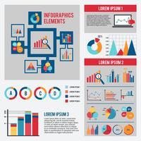 Conjunto de infográficos de gráfico de negócios vetor