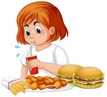 Garota gorda comendo fast-food vetor