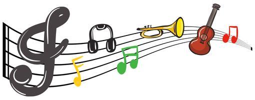 Instrumentos musicais com notas musicais no fundo vetor