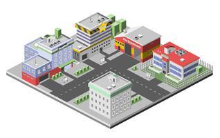 Conceito de edifícios isométricos vetor