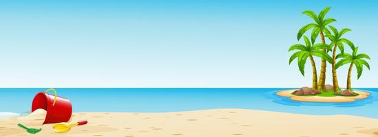 Cena, com, balde, praia vetor
