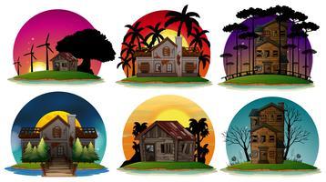 Um conjunto de casa assombrada vetor