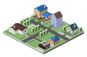 Edifícios de casas residenciais vetor