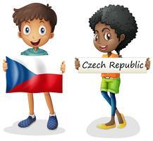 Menino menina, com, bandeira, de, república tcheca vetor