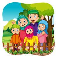 Família muçulmana no parque vetor