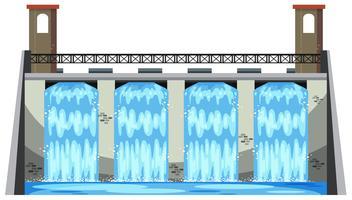 Uma grande barragem no fundo branco vetor
