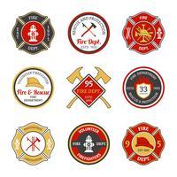 Emblemas do corpo de bombeiros vetor