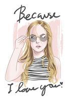 slogan com ilustração de menina desenhada de mão vetor