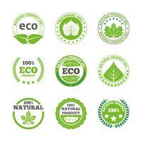 Conjunto de ícones de rótulos de folhas ecológicas