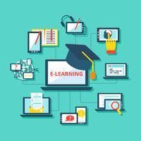 Ícones de aprendizagem planas vetor