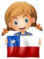 Menina, segurando, bandeira, de, chile vetor