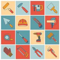 Reparar a linha plana de ferramentas de construção