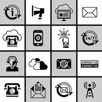Entre em contato conosco conjunto de ícones preto e branco