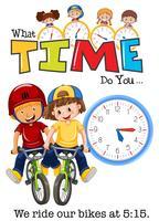 As crianças andam de bicicleta às 5:15 vetor