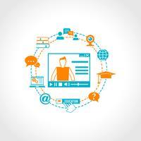 Ícones de educação on-line vetor