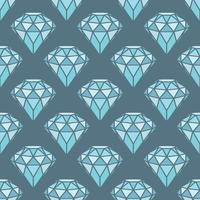 Padrão sem emenda de diamantes azuis geométricos em fundo cinza. Design moderno de cristais hipster. vetor