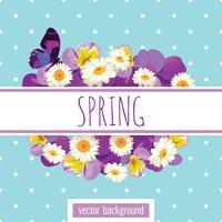 Modelo de cartão floral com texto de exemplo na faixa branca vetor