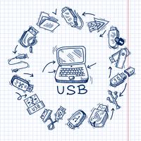 USB e computador vetor