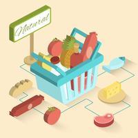 Cesta de supermercado isométrica