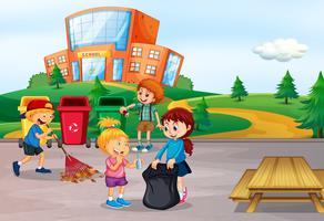 Estudante, limpeza, escola, área vetor
