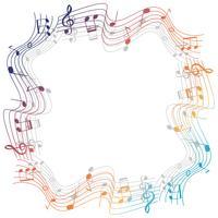 Modelo de fronteira com musicnotes coloridos vetor