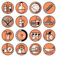 Conjunto de linha de ícones de comida