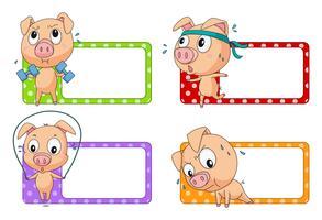 Design de rótulo com exercício de porco
