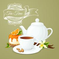 Cartaz de festa de chá vetor