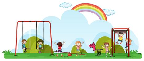 Feliz, crianças, tocando, em, pátio recreio vetor