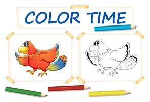 Modelo de coloração com papagaio pássaro vetor