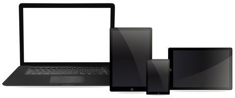 Um conjunto de compueter e tablet vetor