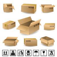 Conjunto de caixas de transporte vetor