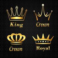 Conjunto de etiquetas de coroa dourada vetor