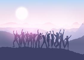 multidão de festa na paisagem por do sol 1412 vetor