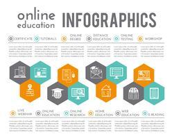 Infografia de educação on-line vetor