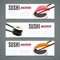 banners de sushi horizontais vetor