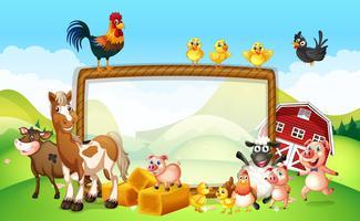 Design de moldura com animais de fazenda vetor