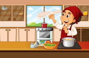 Chef cozinhar comida na cozinha vetor
