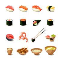 Conjunto de ícones de comida da Ásia