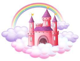 Um castelo de conto de fadas rosa vetor