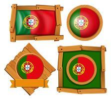 Bandeira de Portugal em crachás redondos e quadrados vetor