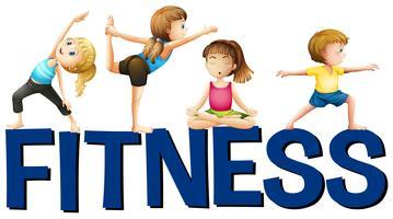 Fitness palavra com as pessoas fazendo yoga