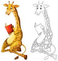 Doodles esboçar animal para girafa lendo livro vetor