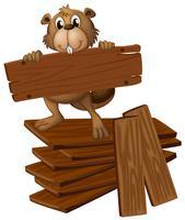 Castor e pilha de madeira compensada vetor