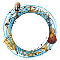 Moldura redonda com instrumentos musicais vetor